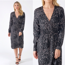 BLACK STAR PRINT SIDE FRILL WRAP DRESS SIZES UK 8, 10, 12, 14
